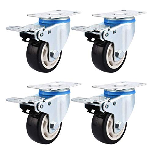 LQH Set of 4 Caster Wheels 3''/4''/5'',Swivel Castor Wheel with Brakes,Ball Bearing and Mounting Plate,Suitable for Furniture and Equipment (Color : Brake, Size : 5inch)