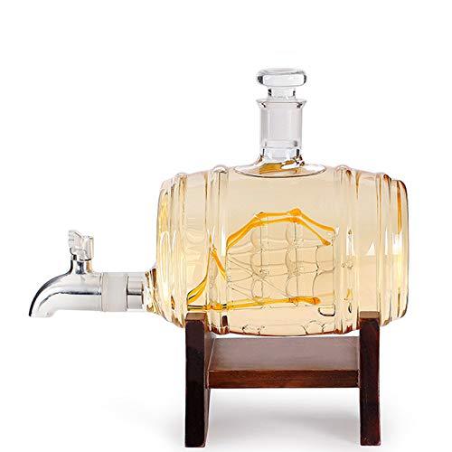 Rabbfay Whisky Licorera Colocar De Madera Cuadro con Grifo, Vino Licorera, Vidrio Botella Envase con Vidrio Tapón por Bar Hogar Partido Decoración