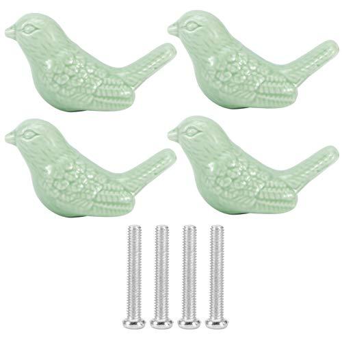 Perillas de cerámica, 4 juegos de perillas de cerámica con forma de pájaro, accesorios de muebles con manija de extracción de armario de cajones(Verde)