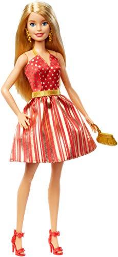 Barbie- Bambola delle Feste Vestito Rosso e Oro, con Accessori, Giocattolo per Bambini 3+ Anni, GFF68