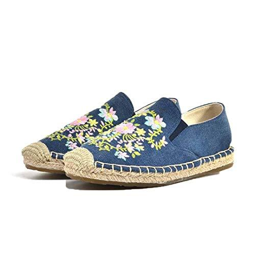 Alpargatas de Mujer Flores de Moda Bordado Costura Deslizamiento de cáñamo en la Parte Superior Baja Zapatos Resistentes Planas Resistentes al Desgaste Zapatos Casuales Transpirables para Mujer