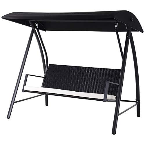 Outsunny Hollywoodschaukel Gartenschaukel 3-Sitzer mit Dach, Polyrattan+Metall, Schwarz, 198x124x179cm