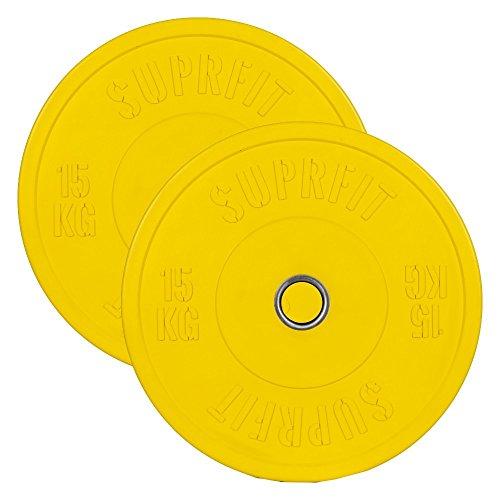 Suprfit, Bumper Plates, Dischi gommati e ammortizzanti per allenamento, peso: 5 – 50 kg, singolo o coppia, 50 mm di diametro buco, diametro disco 450 mm, assorbe gli urti, Coppia di 15 kg – giallo.