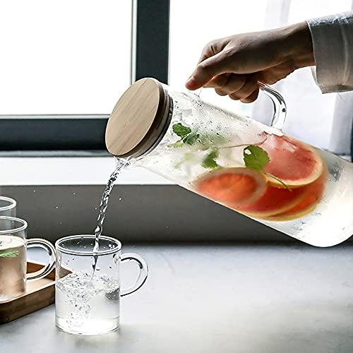 YUyankejiYX Botella de Agua Gruesa de Bambú de 1000ML/ 1500ML Recipiente de Vidrio Resistente Calor con Tapa de Filtro Puede Agregar Café Té Frío Bebidas a La Botella de Agua