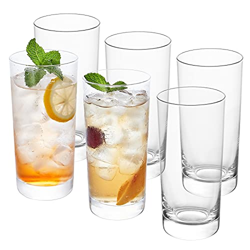 CREATIVELAND Drinking Glasses Set of 6 Highball Glasses HandMade Heat-Resistant Borosilicate Glass, Heavy Base Tumbler Glasses, Glass Cups, Ice Tea Cup or Cocktail Mixed Drinking Glasses, 15.5oz|460ML