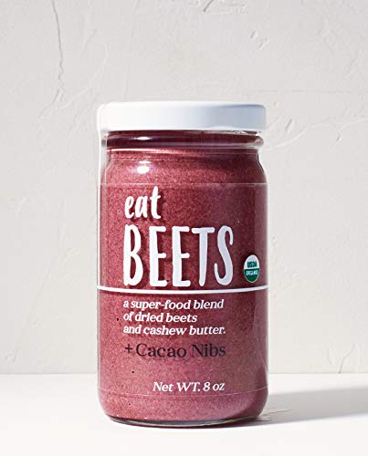 """+Cacao Nibs"" Eat Beets - 100% Organic, cashew butter, beet powder and cacao nibs. No added oils. No added sugars"