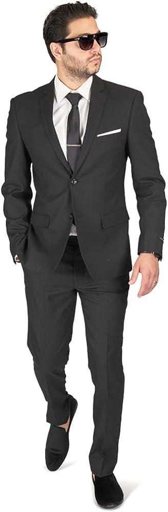 Slim Fit Men Suit Micro Textured Button AZA 5 popular Weave 2 Latest item Collar Notch