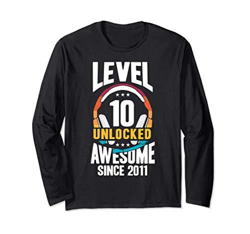 Level 10 Unlocked 10 Jahre Junge Gamer 2011 Geburtstag Langarmshirt