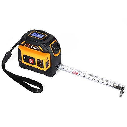 SNDWAY Medidor de distancia láser digital SNDWAY Telémetro portátil Infrarrojo Buscador de rango 2 en 1 5 m Cinta métrica 60 m Regla láser con pantalla LCD