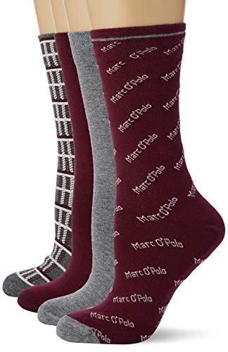 Marc O'Polo Body & Beach Damen Multipack W (4-Pack) Socken, Rot (Burgund 516), 35/38 (Herstellergröße: 400) (4er Pack)