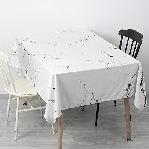 Creek Ywh Nordic in marmeren tafelkleed, rond, rechthoekig, salontafel, fluweel, wit, 180 x 140 cm