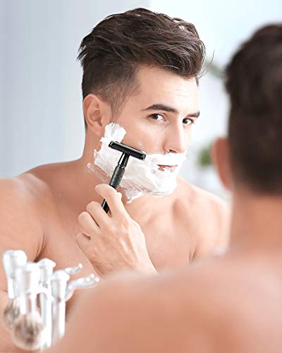 Safety Razor, Limural Razor for Men & Mens Razor with 10 Replacement Blades, Double Edge Shaving Razor with Butterfly Opening Long Handle (Gun Black color)