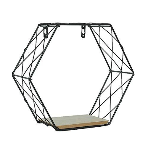 Baorio Estantes hexagonales de hierro para pared, soporte de pared con forma de panal de abeja