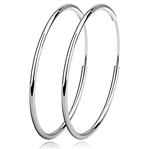 Damen Creolen Ohrringe 925 Sterling Silber Hoop Ring Huggie Kreolen Groß Rund Hängend Klapp-Creolen Durchmesser 60mm Ohrhänger für Frauen Mädchen Mode Schmuck