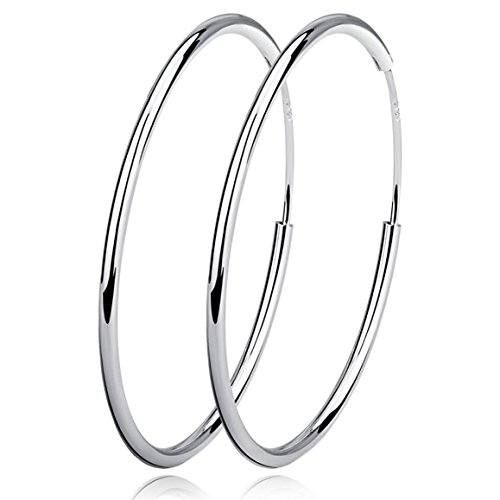 Sterling Silver Circle Endless Hoop Earrings - Jewellery for Women Girls (40mm)