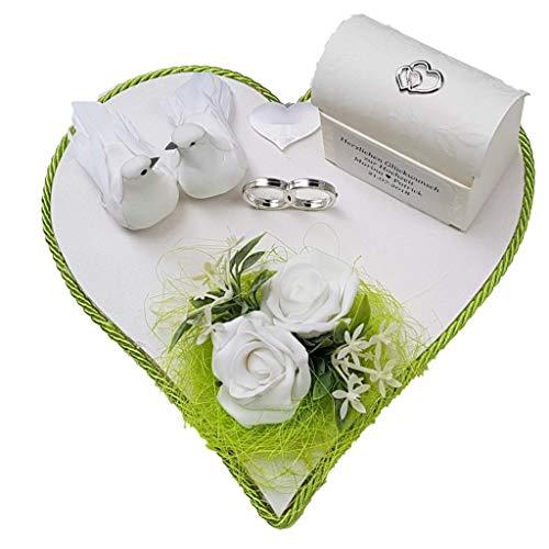 Der-kleine-Dekoladen. Geldgeschenk Hochzeit Flitterwochen Geldverpackung Grün weiß Tauben Brautpaar