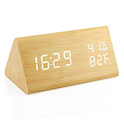 Oct17 Wooden Alarm Clock, Wood LED Digital Desk Clock, Upgraded with Time Temperature, Adjustable Brightness and Voice Control, Humidity Displaying - Bamboo