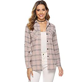 Abollria Womens Casual Long Sleeve Boyfriend Plaid Button Down Flannel Check Shirt Blouse Tops