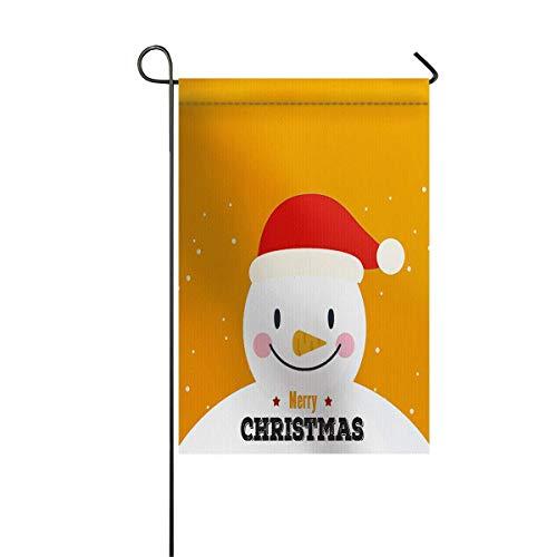 Gartenfahne Haus Banner dekorative Flagge Home Outdoor Valentinstag, Weihnachten Cartoon Schneemann mit Weihnachtsmütze auf gelbem Hintergrund Bild Willkommen Urlaub Hof Flagge 12 x 18 Zoll