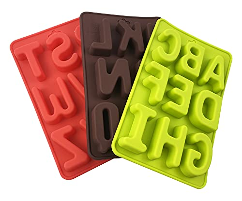 Silicone Letter Mold for Chocolate 3Pcs/set, 2inch Large Letters Alphabet Mold for Cake Decorating, Easy to Remove and Clean, Non-Stick for Crayon Candy Cookies Baking