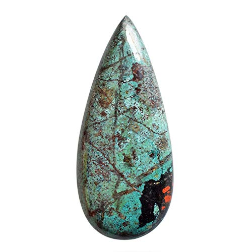 Cabujón de jaspe verde Sonora natural de alta calidad, para hacer joyas, parte trasera plana, tamaño 43 x 18 x 6 mm, piedra colgante AG-13411