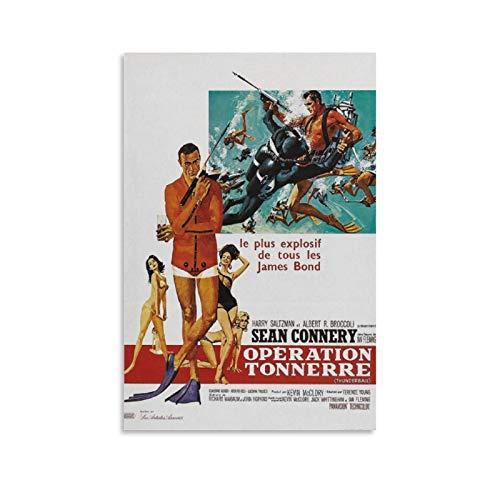 Sean Connery James Bond 007 Thunderball Filmposter, Leinwand-Kunst-Poster und Wandkunstdruck, modernes Familienschlafzimmerdekor, 30 x 45 cm