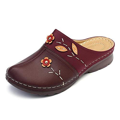 N/A Sandalias, Zapatillas Casuales Ligeras con tacón Inclinado de otoño, Zapatillas Baotou, Zapatos cómodos de Gran tamaño-Vino Tinto_40