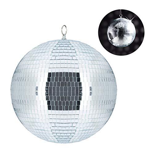 Relaxdays Discokugel, zum Aufhängen, für Decke, große Spiegelkugel, Party Deko, Mottoparty, Diskokugel Ø 30 cm, Silber