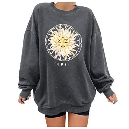 skiyy Sudadera para Mujer Cuello Redondo Estampado de Letras Estilo Vintage Pullover Tops Blusa de Camiseta de Manga Larga Informal 2021 Sweatshirt (Gris, M)