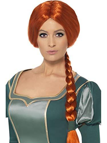 Luxuspiraten - Kostüm Accessoires Zubehör Damen Shreck Prinzessin Fiona Langhaar Perücke mit Zopf, perfekt für Karneval, Fasching und Fastnacht, Braun