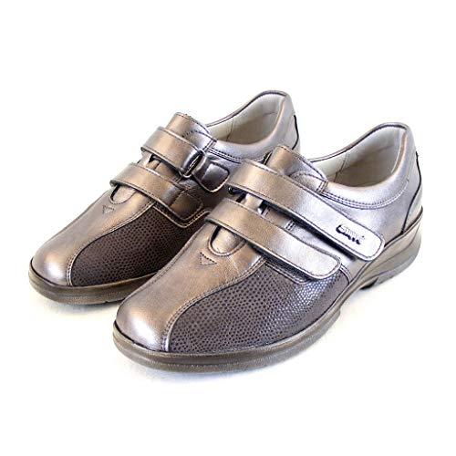 Stuppy Damen Schuhe Taupe Halbschuhe Leder Stretch Fußbett Wechselfußbett 15509, Größe:40 EU