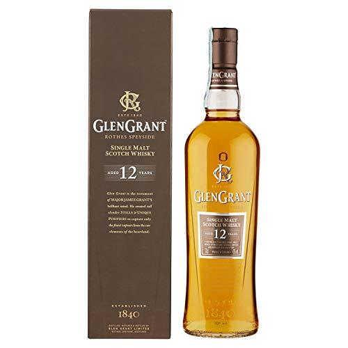 Glen Grant Single Malt - Whisky Scozzese, Invecchiato 12 Anni con Piacevole Aroma di Frutta e Mandorla, 43% Vol, Bottiglia in vetro da 700ml