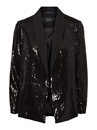 Vero Moda VMISOLDE L/S Blazer TLR Ki Giacca, Nero (Black Detail:Solid + Sequins), 44 IT Donna