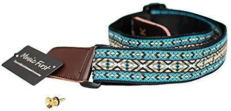 MUSIC FIRST Country style Soft Cotton & Genuine Leather Ukulele Strap Ukulele Shoulder Strap Version 2.0