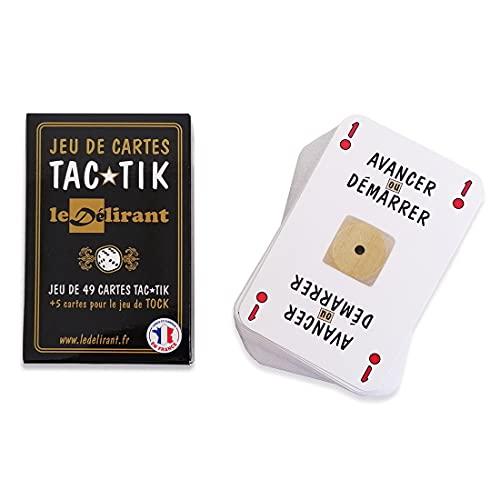 Jeu de Cartes TAC★TIK - Conçu et Fabriqué en France. Paquet de 49 Cartes Originales pour Jouer au TAC TIK + 5 Cartes pour Jouer au Jeu de TOC ou Tock. Marque française Le Délirant®.