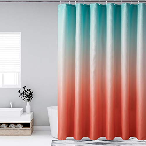 Bermino Ombre Textured Fabric Shower Curtains for Bathroom - Waterproof Cloth Bath Curtain with 12 Hooks, 70 x 72 Inch, Orange and Green Gradient