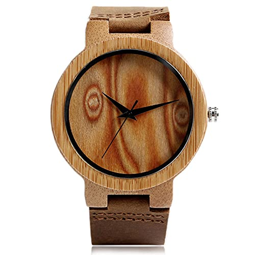 UIOXAIE Reloj de Madera Relojes de Madera Hechos a Mano Reloj de bambú de Madera Natural Reloj de Pulsera de Cuarzo Hombres Mujeres Regalos Calientes, Esfera marrón