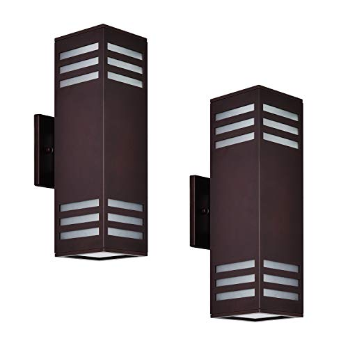 Outdoor Wall Light, 2 Pack Classic Exterior Wall Lantern Sconce, Oil Rubbed Bronze with Frosted Glass [ETL Listed], Housen Solutions