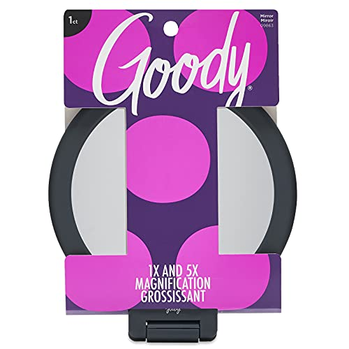Goody Soft Touch 3 Piece Hand Mirror with Dual Magnification and Hook, Grey