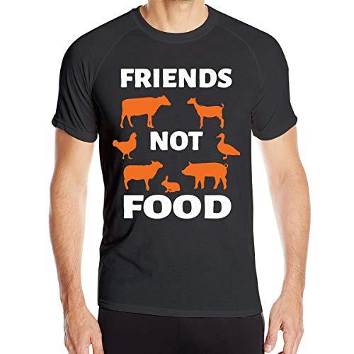 Animals Are Friends Not Food Vegans Camiseta de Manga Corta de Secado rápido para Hombres Top Deportivo para Correr