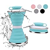 10. DARUNAXY Collapsible Foldable Water Bottle - Portable Reusable Leakproof Silicone Sports Travel Water Bottle for Outdoor, Gym, Hiking, Cycling with Carabiner (Green)