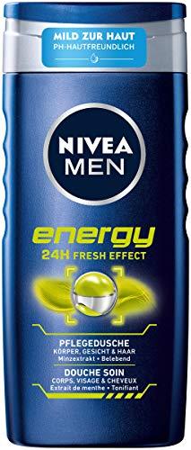 Nivea Men Energy verzorgende douchegel (250 ml), vitaliserende douchegel met verfrissend mintextract, pH-huidvriendelijke douche voor lichaam, gezicht en haar.