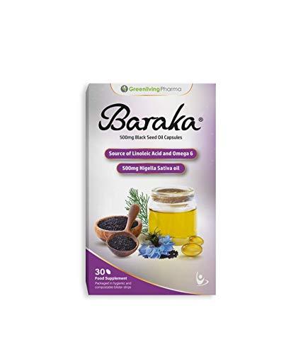 Baraka 100% Pure Black Seed Oil Kapseln in hygienischen Blisterstreifen. Kaltgepresstes Schwarzkümmelöl aus der Nigella Sativa Pflanze - 500 mg (30 Tage Vorrat)