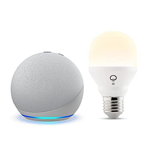Echo Dot (4.ª generación), Blanco + LIFX Bombilla Inteligente Blanca (E27), compatible con Alexa