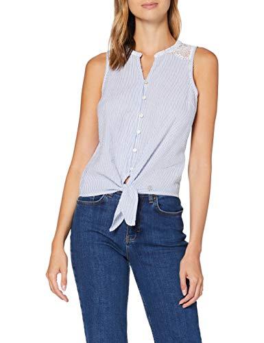 Superdry Morgan Lace Blouse Blusa, Azul (Blue Stripe 2u7), XL (Talla del Fabricante:16) para Mujer