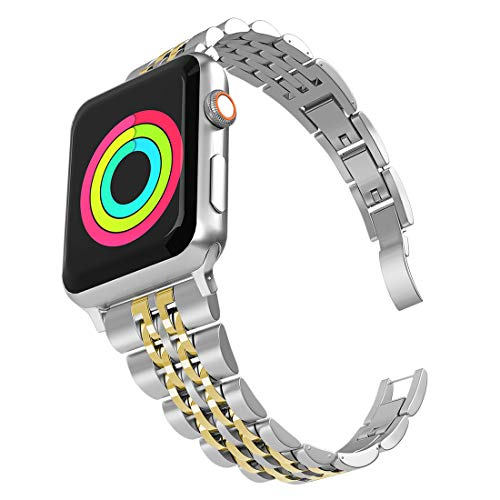 Aizilasa Band Compatible with Apple Watch 40mm Series 4, iWatch 38mm Series 3 2 1 for Women Men Stainless Steel Bracelet Adjustable Metal Strap Wristbands (Silver&Gold-38mm/40mm)
