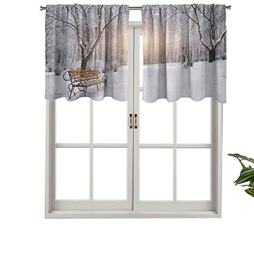 Hiiiman Indoor Home Curtain Valance Panel Snowy Leafless Trees Benches in The City Park, Set of 1, 42'x18' for Bathroom and Cafe