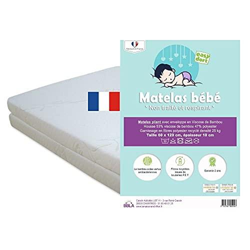 Easy Dort - Colchón plegable para bebé (60 x 120 cm, funda de bambú, para cama de 60 x 120 cm, antibacteriano, 10 cm de grosor, fácil de plegar,...