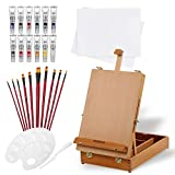 Wooden Desktop Easel, Falling in Art 27 PCS Acrylic Drawing And Painting Set