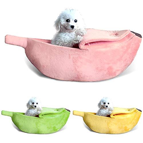 Ponacat heerlijk huisdier bed banaan design huis zachte hond kat knuffel bed voor kitten konijn kleine huisdieren 55 cm, roze